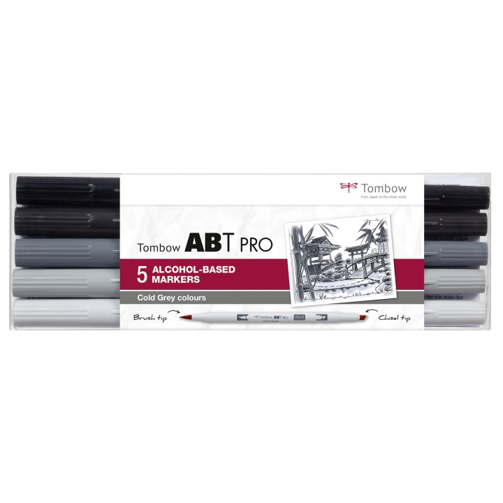ABT PRO Dual Brush Pen 5-set Cold Grey i gruppen Pennor / Konstnärspennor / Penselpennor hos Pen Store (101259)