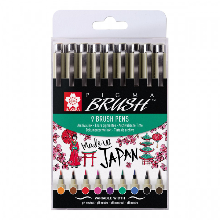 Pigma Micron Brush Color 9-pack i gruppen Pennor / Skriva / Fineliners hos Pen Store (103307)