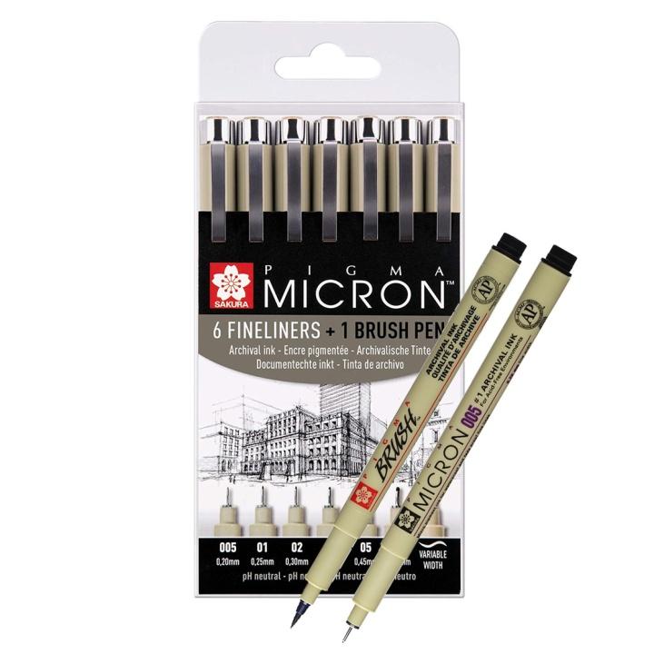 Pigma Micron Fineliner 6-set + 1 Brush Pen