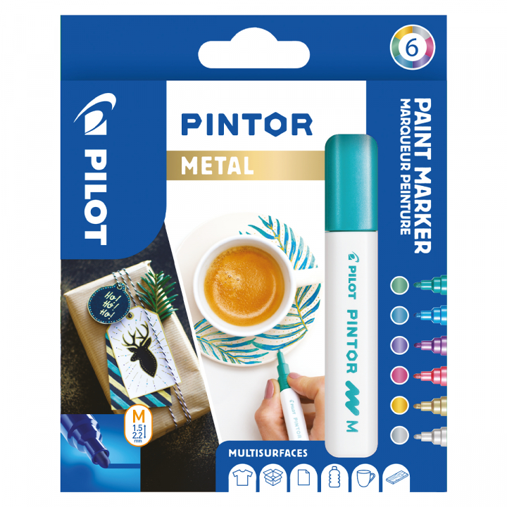 Pintor Medium 6-pack Metal i gruppen Pennor / Konstnärspennor / Illustrationsmarkers hos Pen Store (109495)