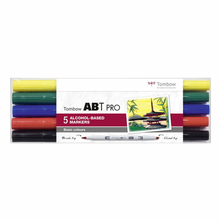 ABT PRO Dual Brush Pen 5-set Basic i gruppen Pennor / Konstnärspennor / Illustrationsmarkers hos Pen Store (125264)