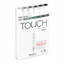 Twin Brush Marker 6-set Grey